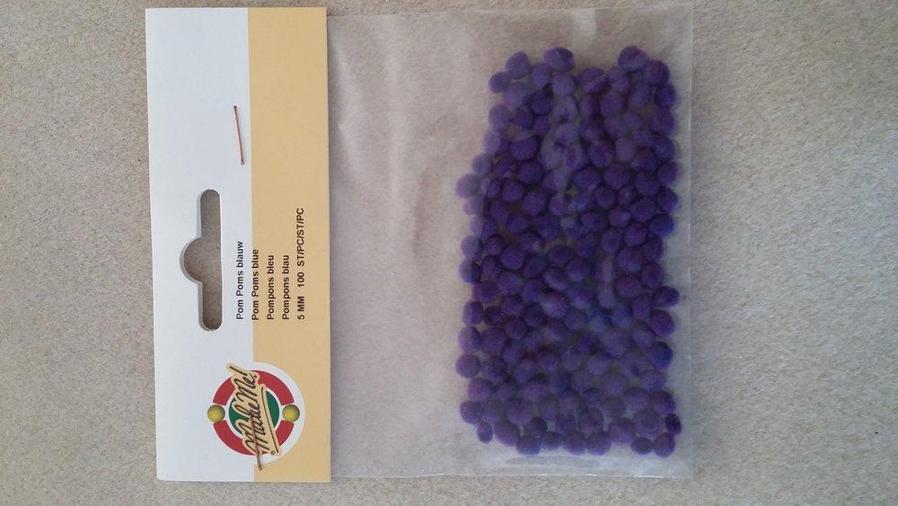 Zakje pompons blauwpaars 100 st 5 mm