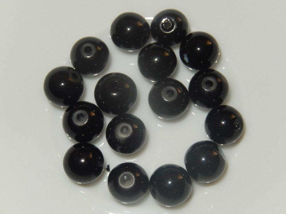 P0130 Glaskraal zwart rond 8 mm