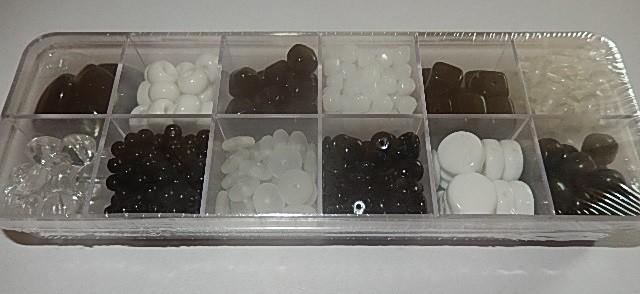 T0108 Verzameldoosje preciosa kralen zwart/wit
