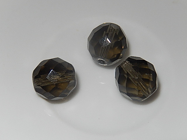 B0213 Glaskraal rookglas rond 12 mm facetgeslepen