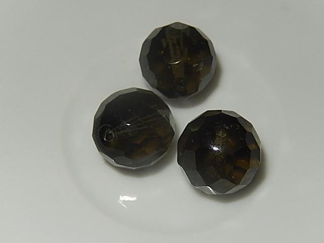 B0214 Glaskraal rookglas rond 14 mm facetgeslepen