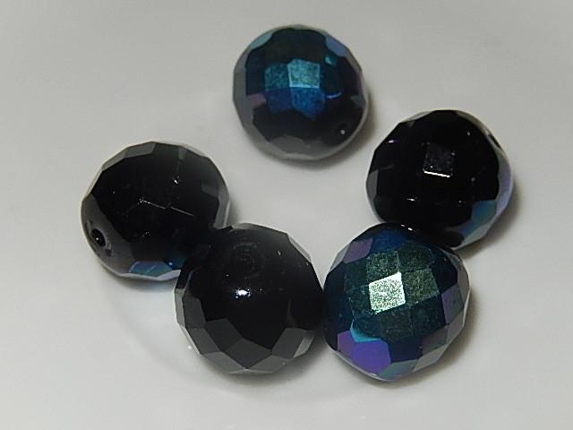 B0215 Glaskraal zwart met AB coating rond 14 mm facetgeslepen