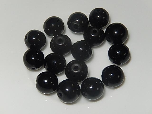 B0225 Glaskraal zwart rond 8 mm