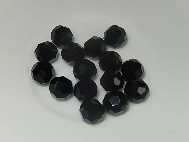 B0201 Glaskraal zwart rond 7 mm facetgeslepen