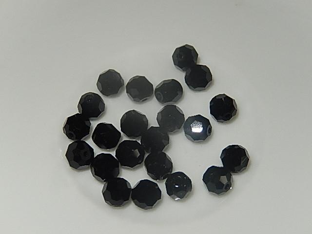 B0202 Glaskraal zwart rond 5 mm facetgeslepen