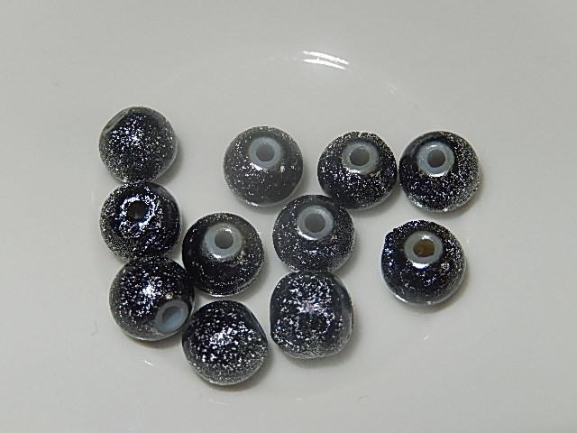 B0303 Glaskraal zilvergrijs gespikkeld rond 8 mm