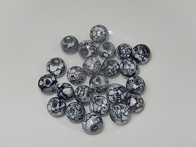 B0304 Glaskraal wit/grijs gemarmerd rond 6 mm
