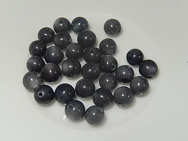 B0312 Glaskraal grijs met sprankeling rond 5 mm