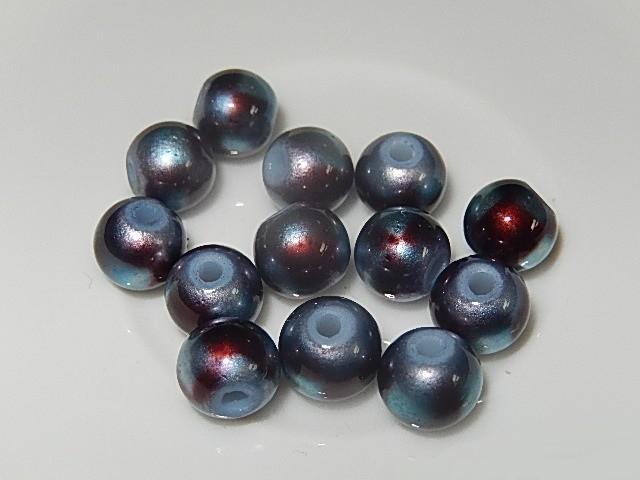 B0306 Glaskraal rood/grijs gevlekt rond 8 mm