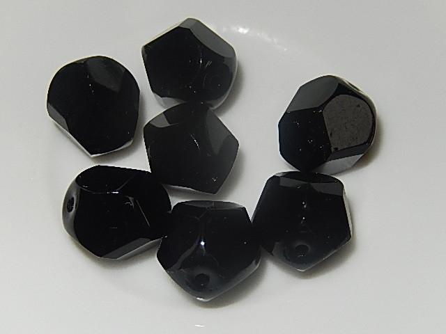 B0120 Glaskraal zwart rond 12 mm met facetten