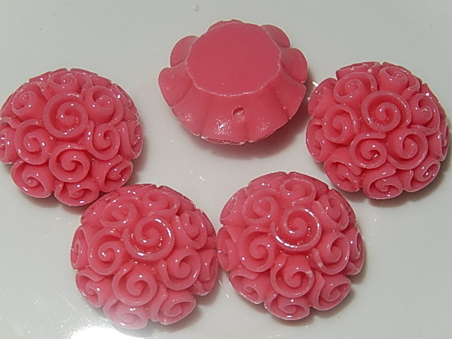 CBK602B19 Kunststof kraal/cabochon bloem 5 st roze 19 mm