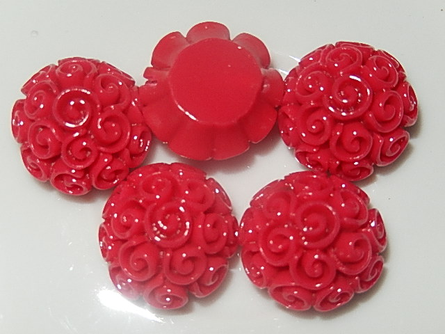 CBK201B19 Kunststof kraal/cabochon bloem 5 st rood 19 mm