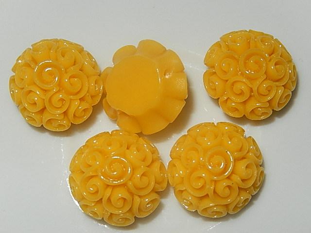 CBK301B19 Kunststof kraal/cabochon bloem 5 st geel 19 mm