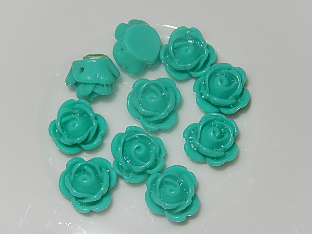 CBK501B10 Kunststof kraal/cabochon 10 st turquoise bloem 10 mm
