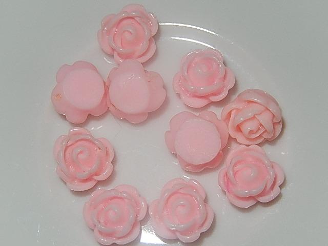 CBK601B10 Kunststof kraal/cabochon 10 st roze bloem 10 mm