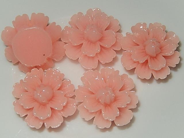 CBK604B19 Kunststof kraal/cabochon bloem 5 st roze 19 mm