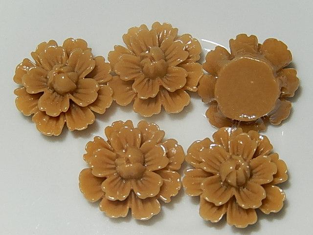 CBK701B19 Kunststof kraal/cabochon bloem 5 st caramel bruin 19 mm