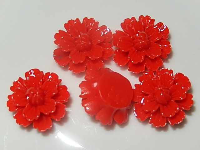 CBK202B19 Kunststof kraal/cabochon bloem 5 st rood 19 mm