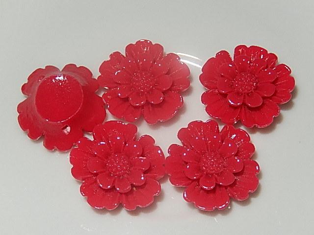 CBK201B20 Kunststof kraal/cabochon bloem 5 st rood 20 mm