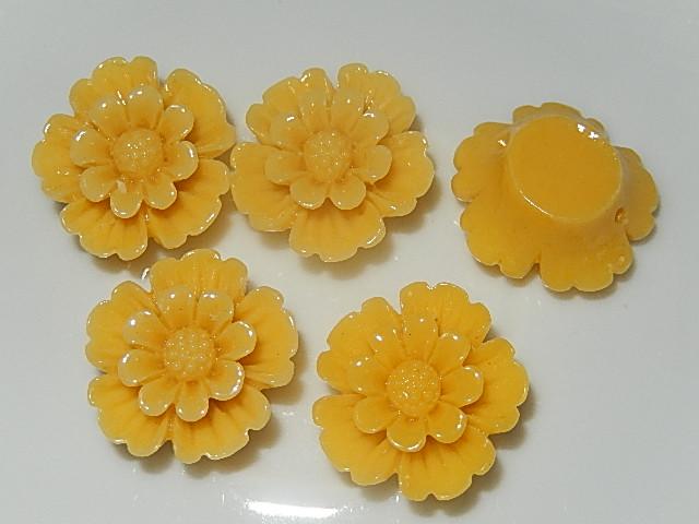 CBK301B20 Kunststof kraal/cabochon bloem 5 st maisgeel 20 mm