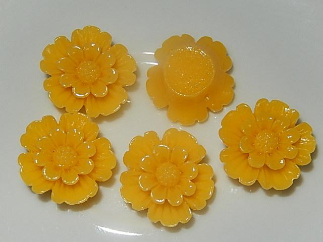 CBK302B20 Kunststof kraal/cabochon bloem 5 st geel 20 mm