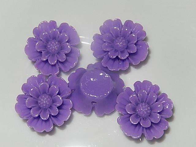 CBK601B20 Kunststof kraal/cabochon bloem 5 st paars 20 mm