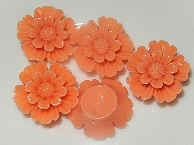 CBK801B20 Kunststof kraal/cabochon bloem 5 st oranje 20 mm