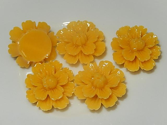 CBK303B20 Kunststof kraal/cabochon bloem 5 st donkergeel 20 mm