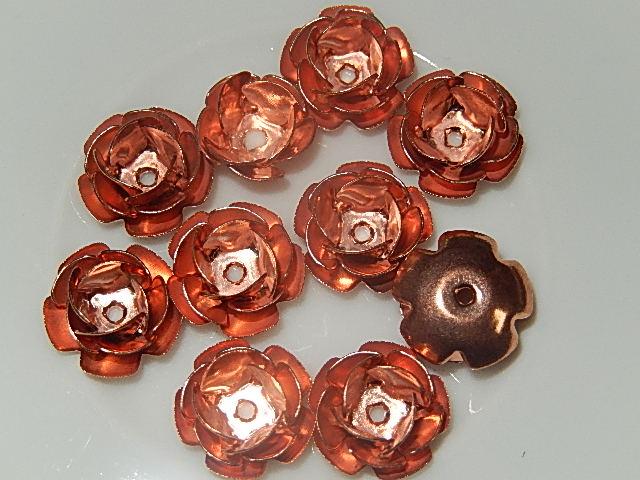 KRM201B12 Koperkleurige metalen bloemkraal 12x6 mm 10 st