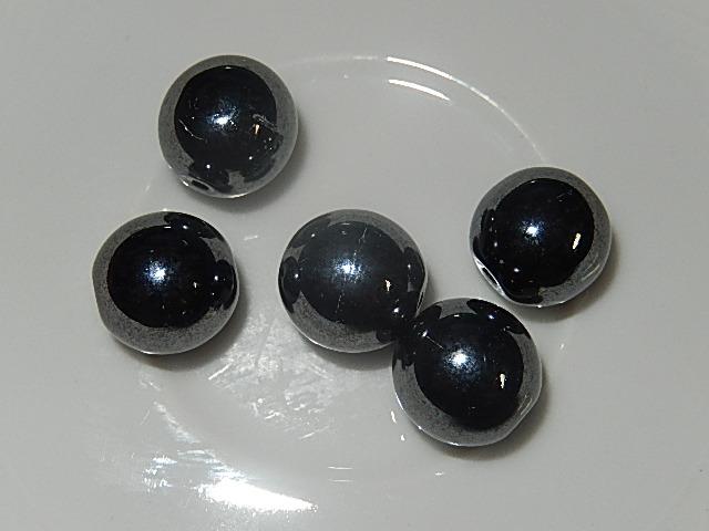 KRG001R12T Tsjechische glaskraal 5 st antraciet zwart rond 12 mm