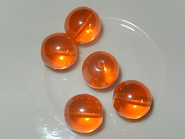 KRG801R12T Tsjechische glaskraal 5 st oranje met coating rond 12 mm