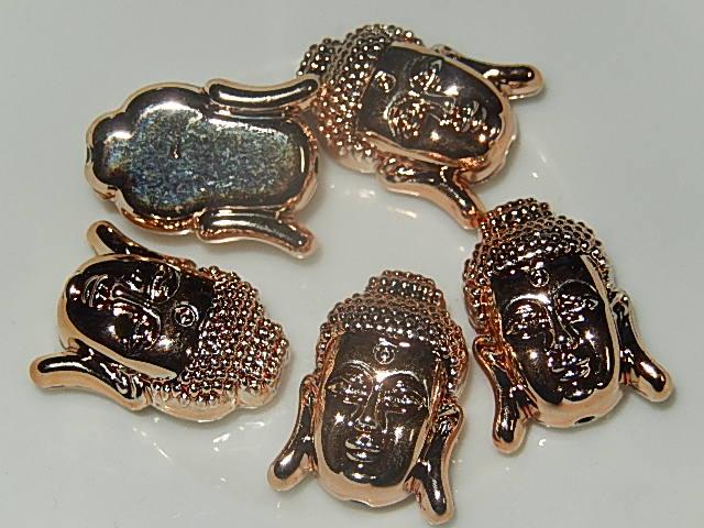 KRK609X19 Metallook Thaise buddha 5 st roze goud 19x14 mm