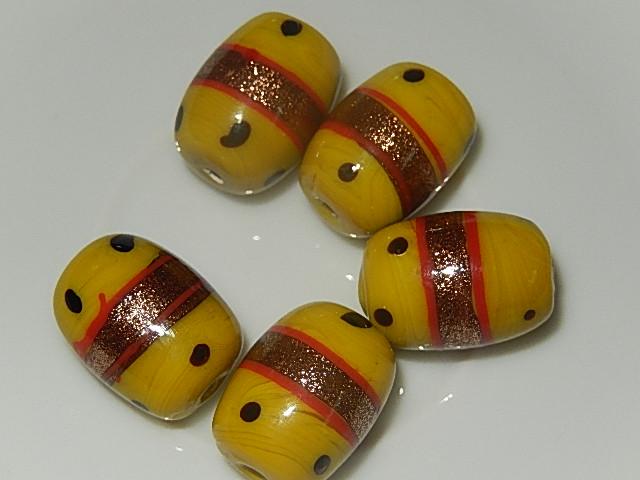 B3221 Keramische lampwork kraal geel met goudfolie cilinder 19x13 mm