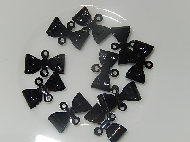 HAM002X08 Metalen strikjes 10 st 8x12 mm zwart
