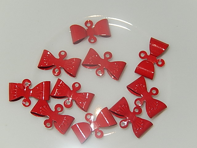 HAM201X08 Metalen strikjes 10 st 8x12 mm rood