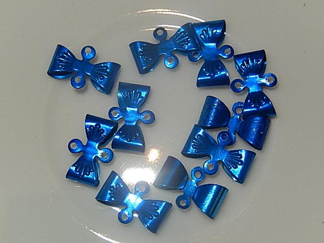 HAM402X08 Metalen strikjes 10 st 8x12 mm blauw
