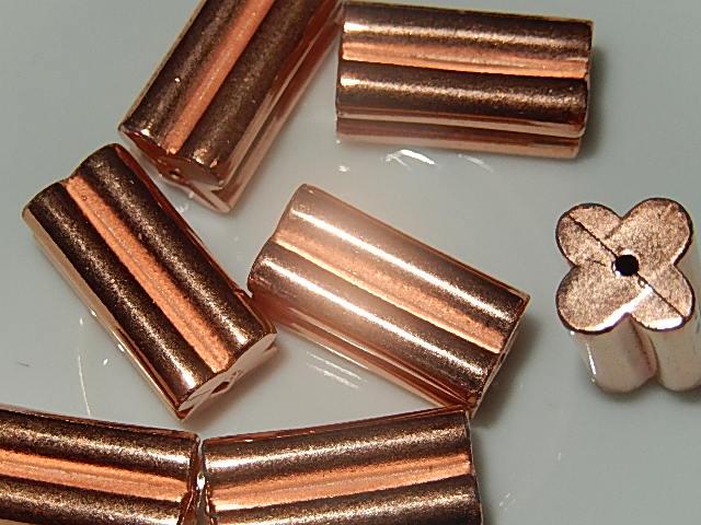 KRK206X20 Metaallook kraal 1 st langwerpig bladmotief roze goud 20x10 mm