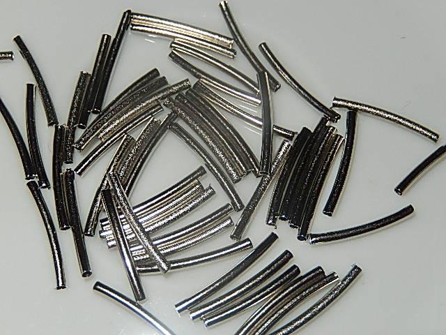 KRM001X15 Gebogen metalen buisjes antiek zilver 15 mm 50 st