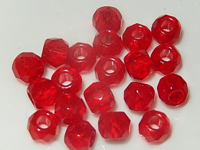 KRG201R80F DQ Tsjechische groot gat glaskraal 1 st rood rond 8 mm facetgeslepen