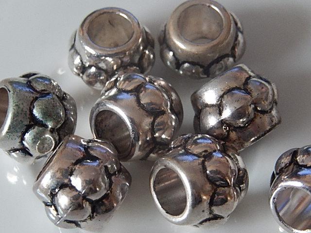 Q0123 Metallook kraal 1 st rond met groot gat, pandorastijl, 12x19 mm