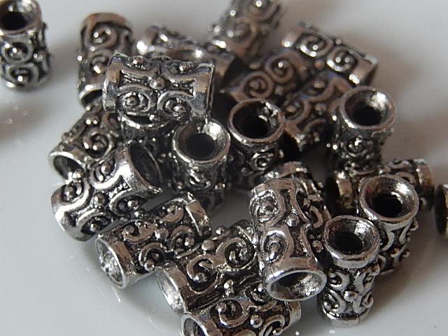M0204 Tibetaans zilveren kraal 1 st cilinder 10x6 mm