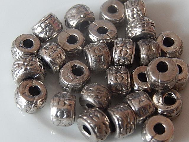 M0205 Tibetaans zilveren kraal 1 st cilinder 5x7 mm
