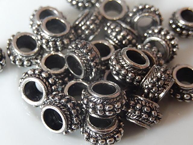 M0225 Tibetaans zilveren tussenkraal 1 st pandorastijl 6x10 mm