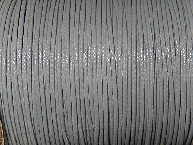 DRW002X010 Waxkoord 1 m gewaxed polyester koord 1 mm dik lichtgrijs