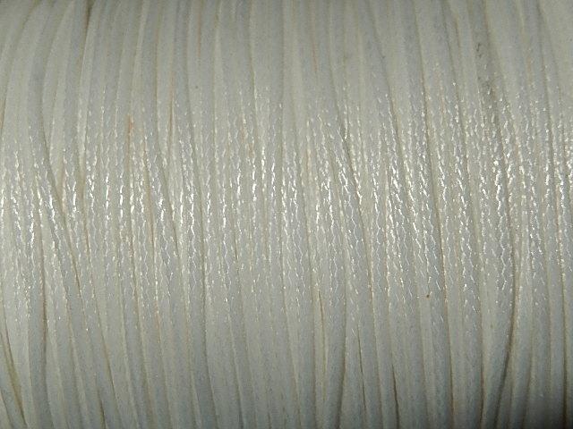 DRW102X010 Waxkoord 1 m gewaxed polyester koord 1 mm dik ivoorwit