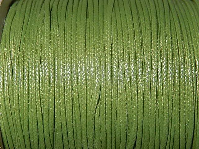 DRW504X010 Waxkoord 1 m gewaxed polyester koord 1 mm olijfgroen