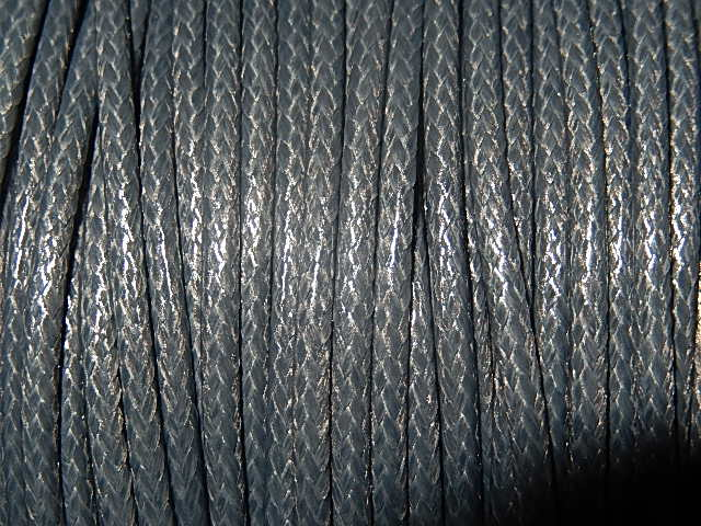 DRW005X020 Waxkoord 1 m gewaxed polyester koord 2 mm dik leisteengrijs