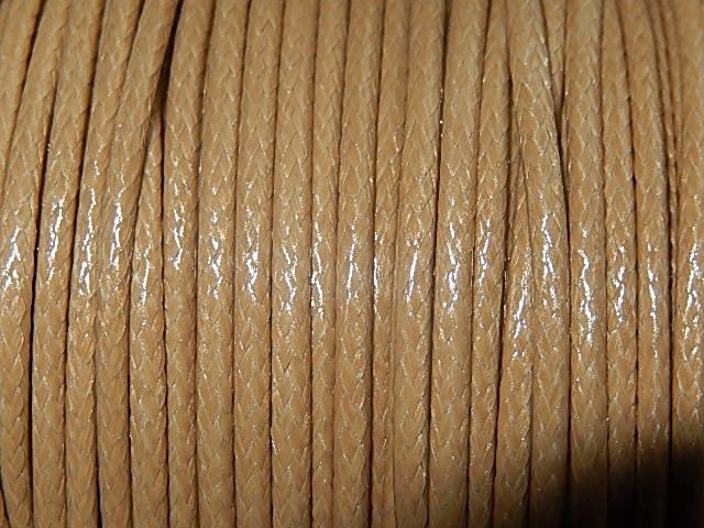 DRW705X020 Waxkoord 1 m gewaxed polyester koord 2 mm dik camel