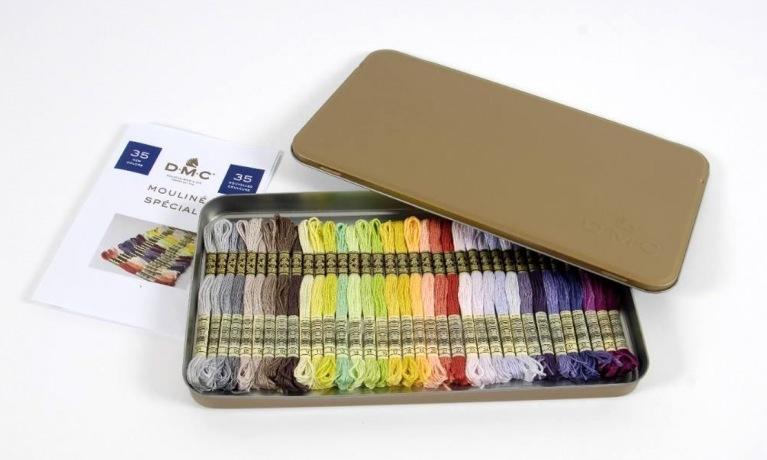 DMC goud-metalen box met 1 streng van de 35 nieuwe kleuren