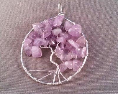 Hanger tree of life, verzilverd met amethyst